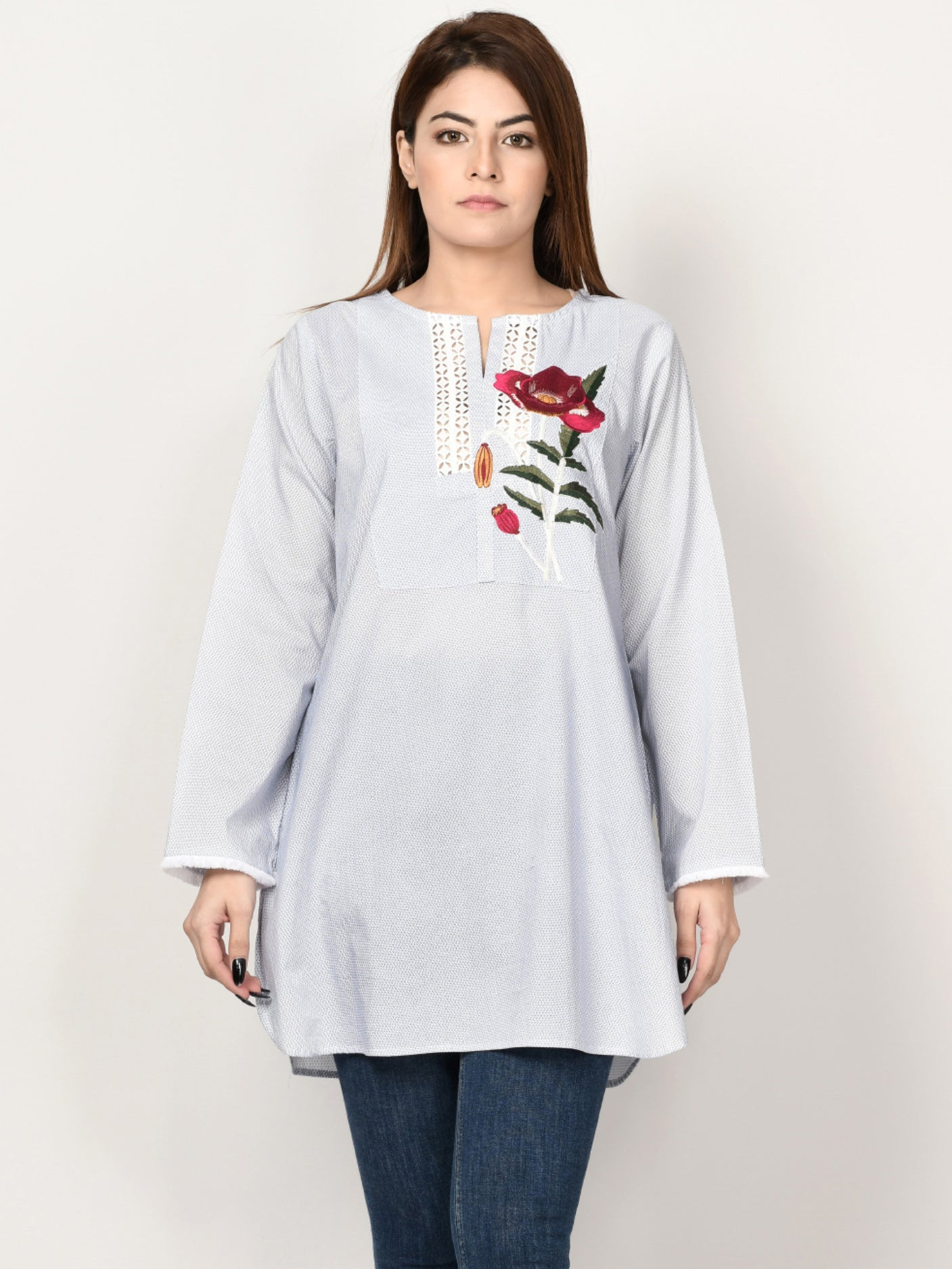 Embroidered Cambric Shirt