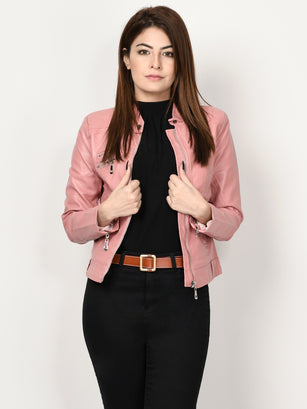 Leather Jacket - Tea Pink