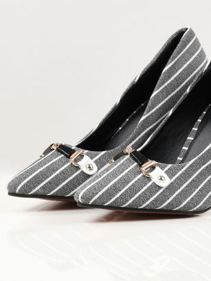 Striped Heels - Grey