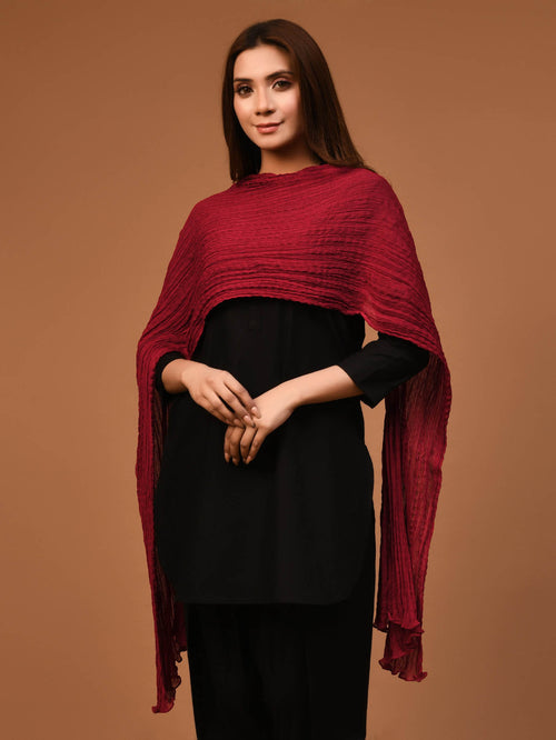 Crushed Dupatta-Red