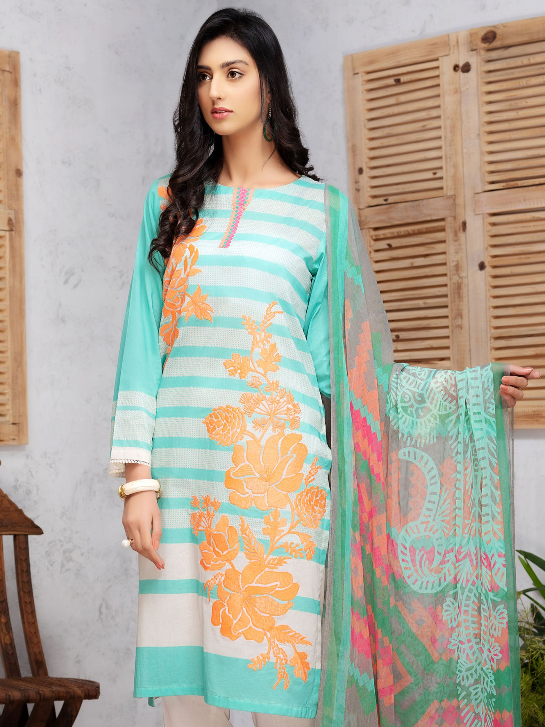 2-Pc Embroidered Lawn Suit