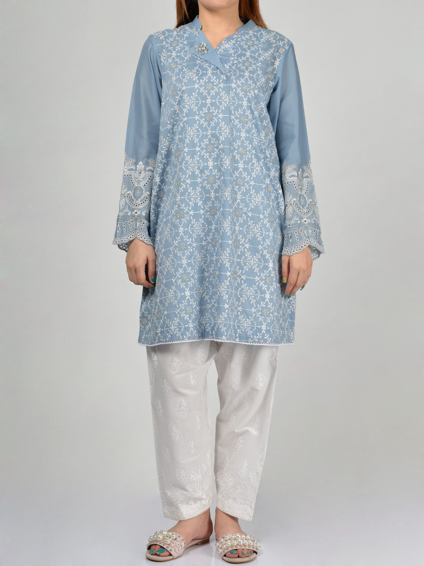 Embroidered Lawn Shirt Online P0090 Limelight