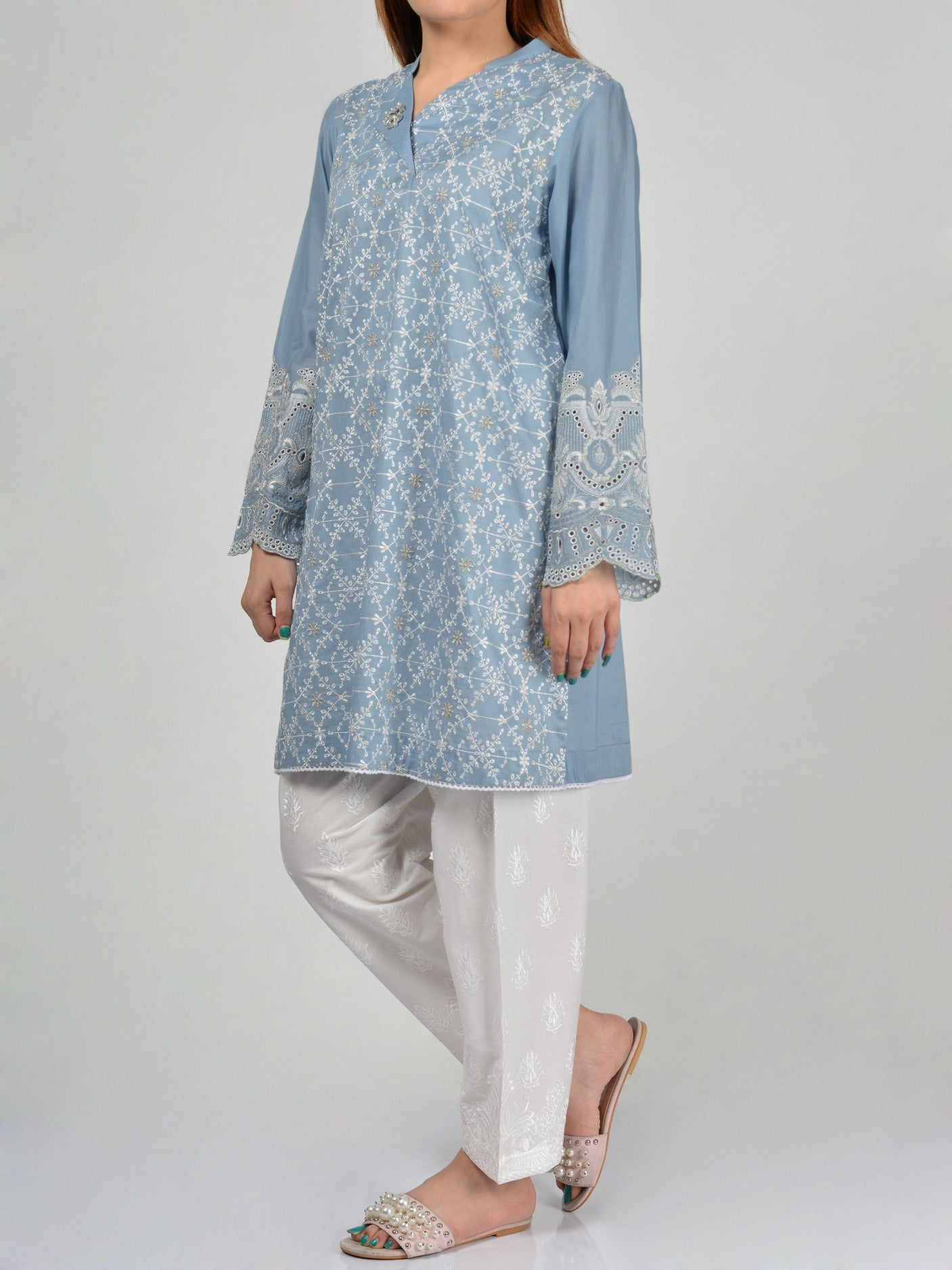Embroidered Lawn Shirt Online P0090