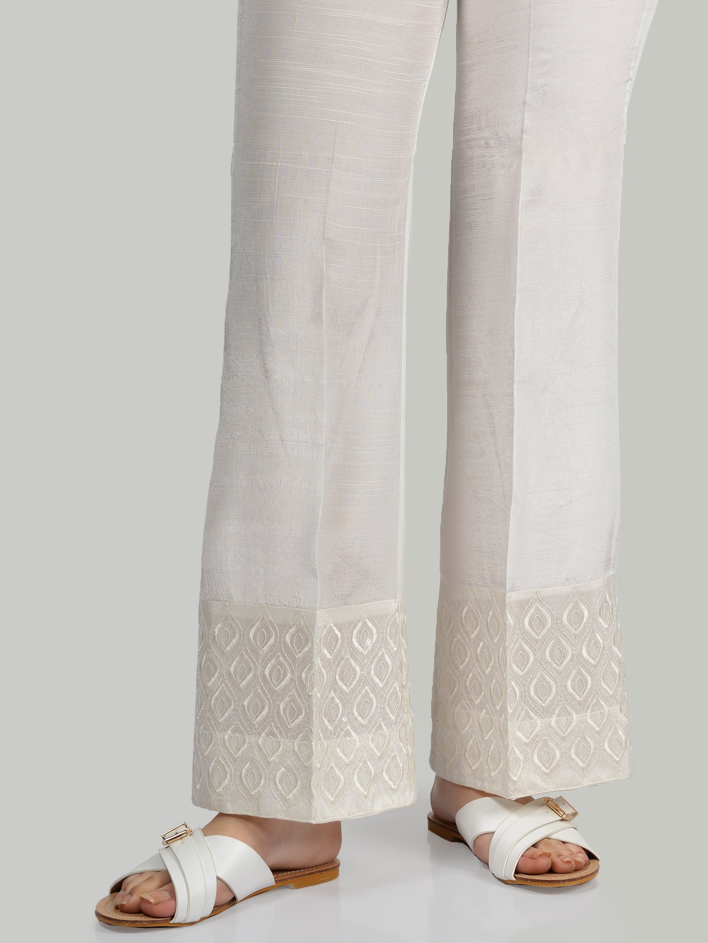 Embroidered Silk Pants