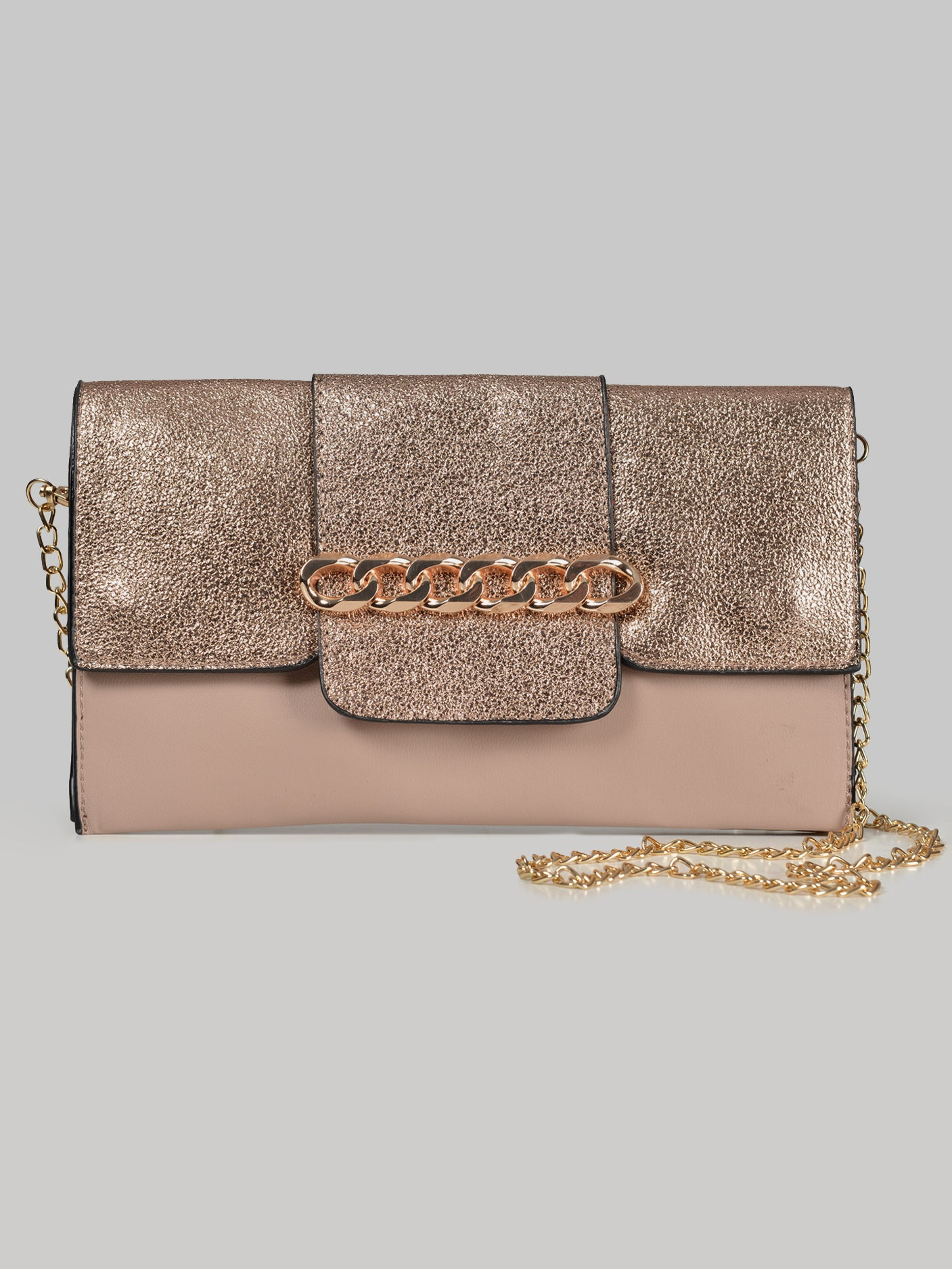 Metallic Adorned Clutch