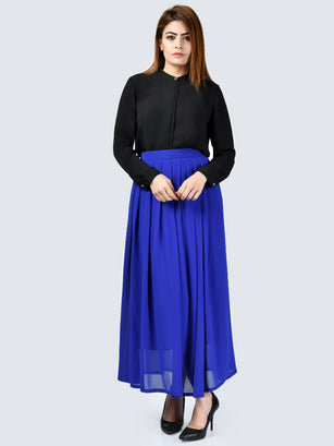 Pleated Chiffon Skirt-Blue