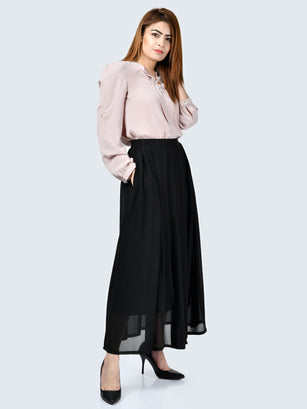 Pleated Chiffon Skirt-Black