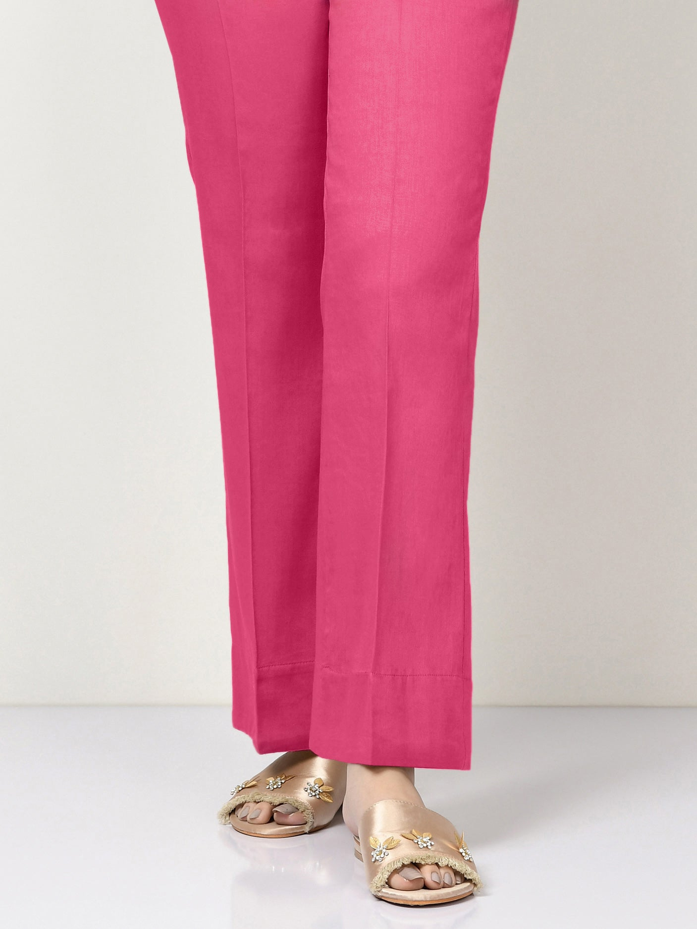 Unstitched Cambric Trouser - Punch Pink