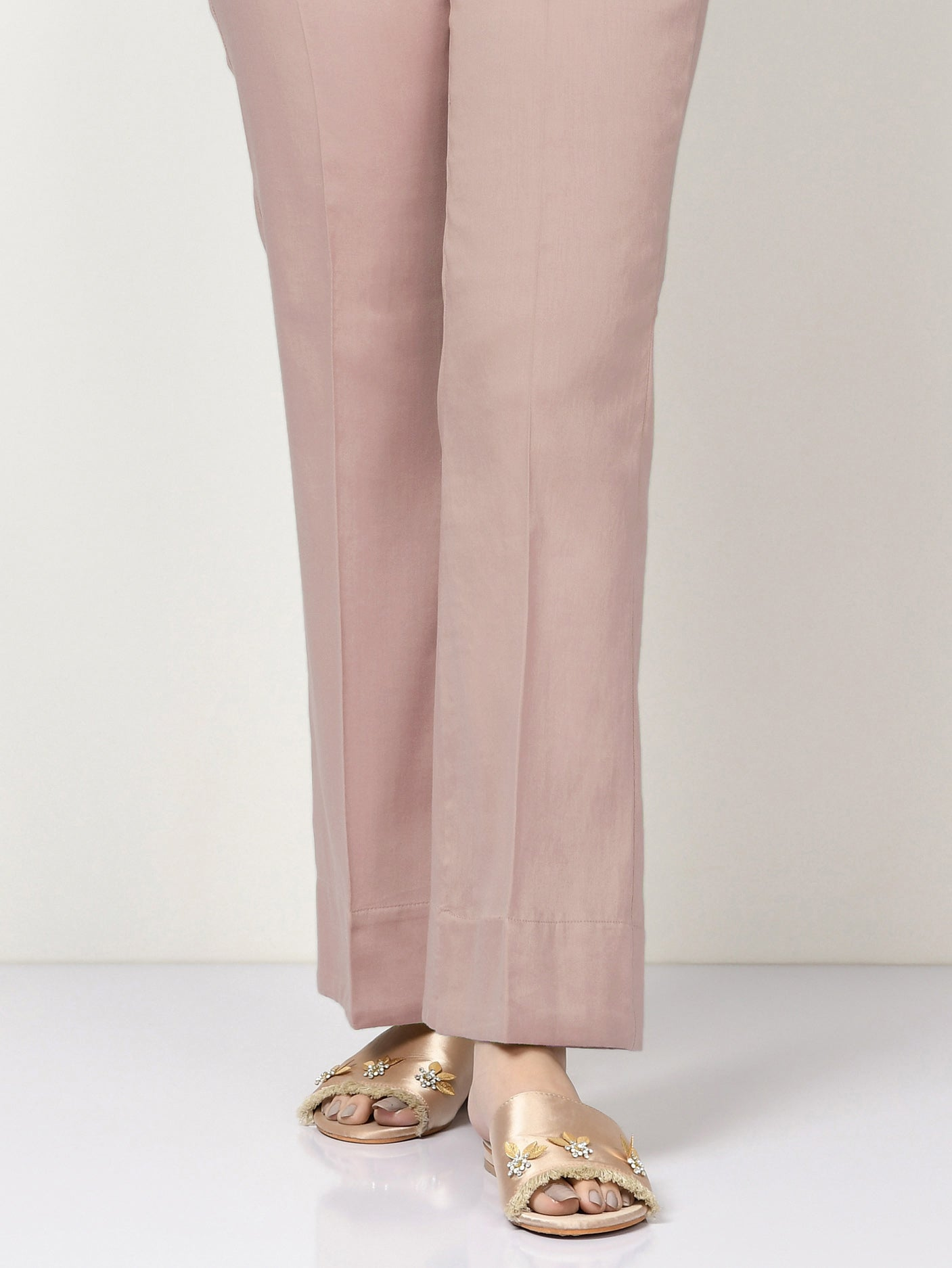 Unstitched Cambric Trouser - Powder Pink
