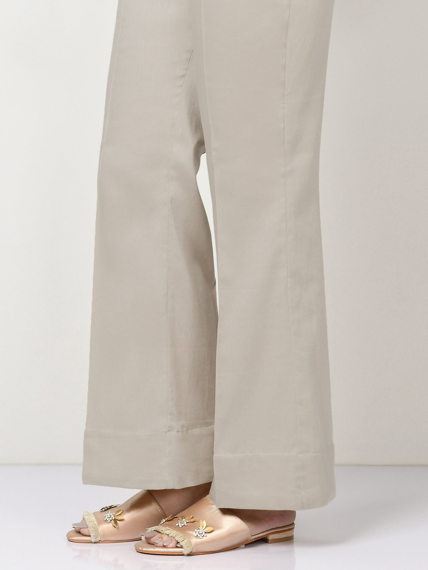 Unstitched Cambric Trouser - Light Sand Grey
