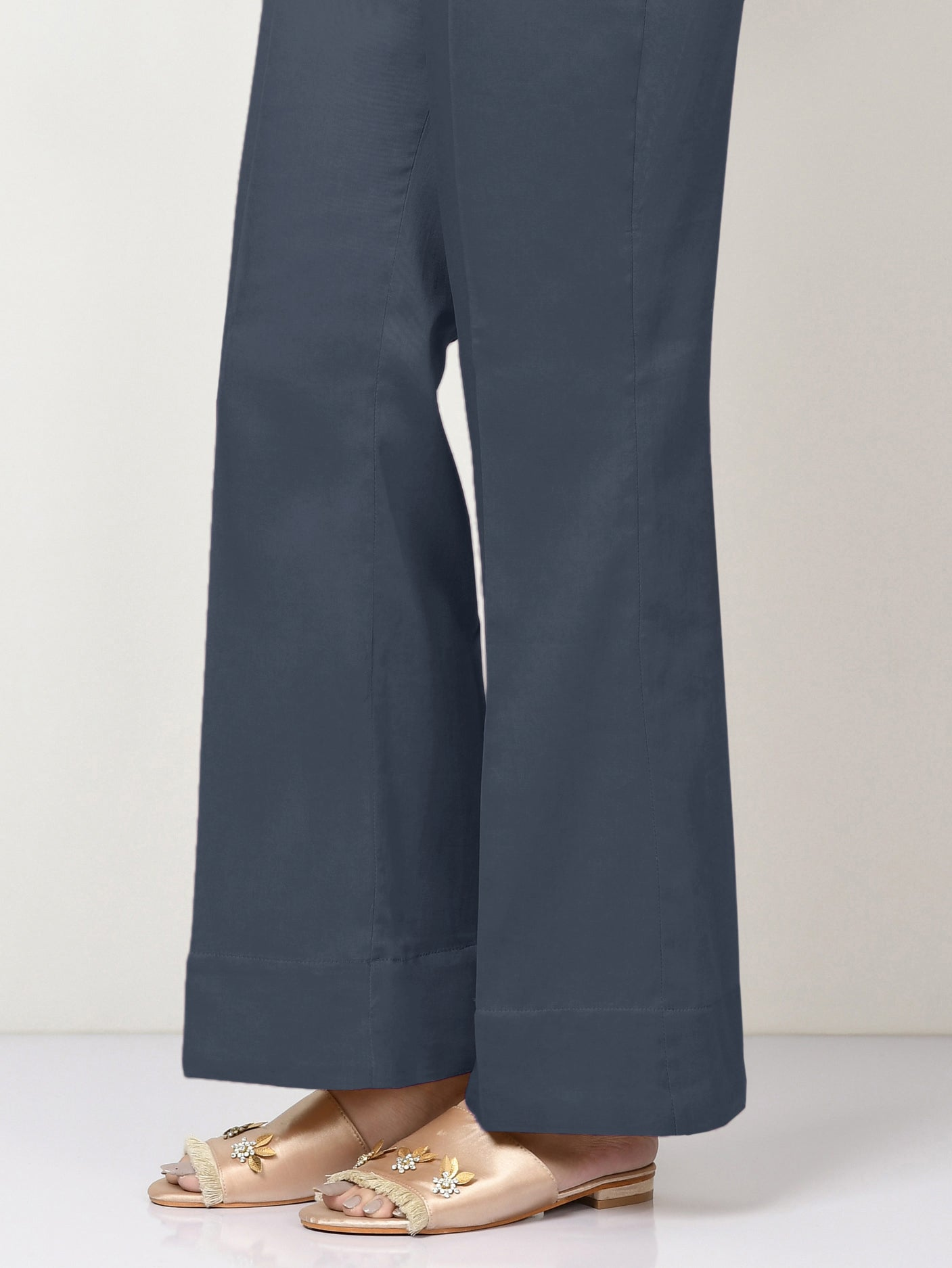 Unstitched Cambric Trouser - Navy Blue