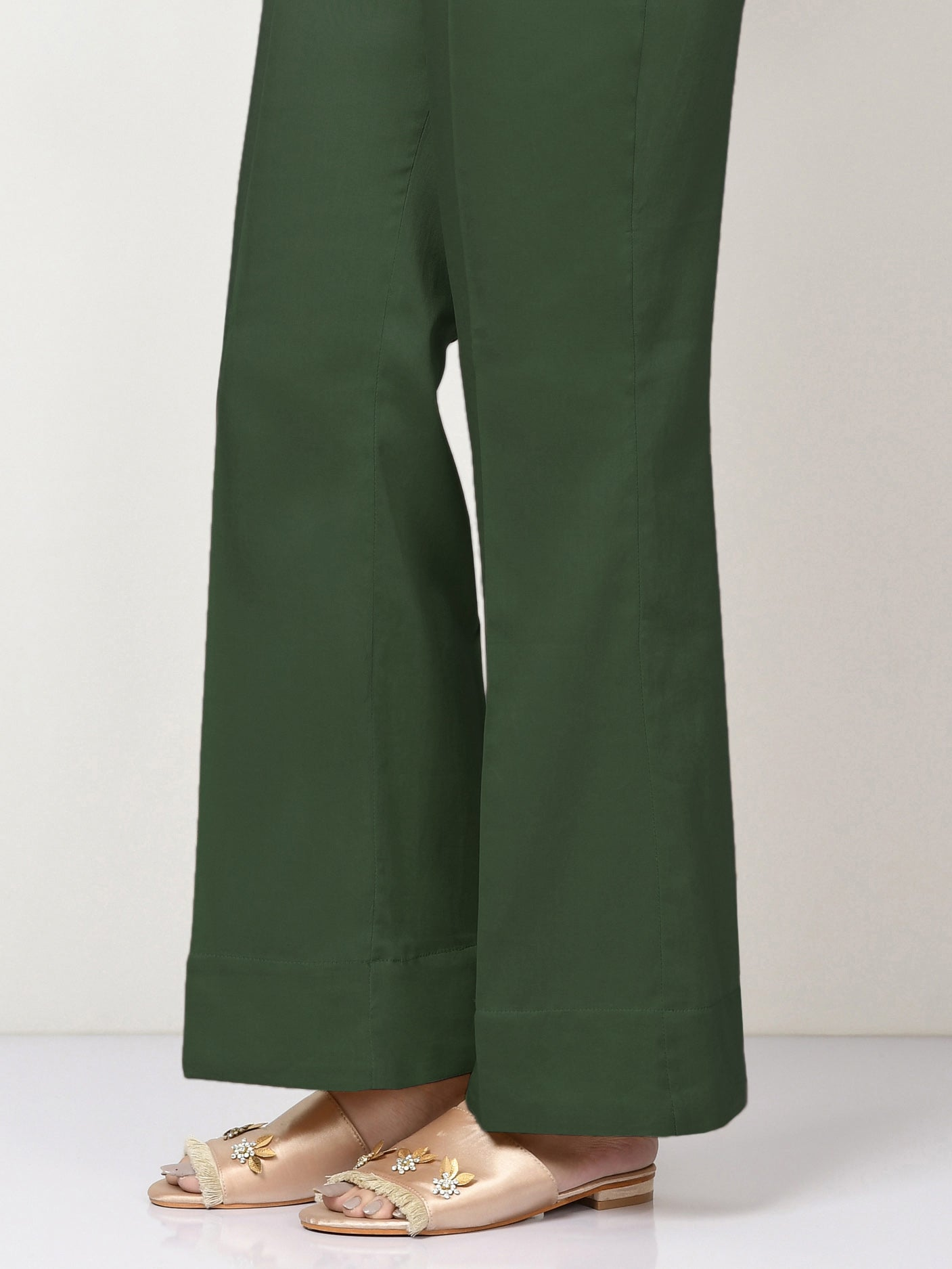 Unstitched Cambric Trouser - Army Green