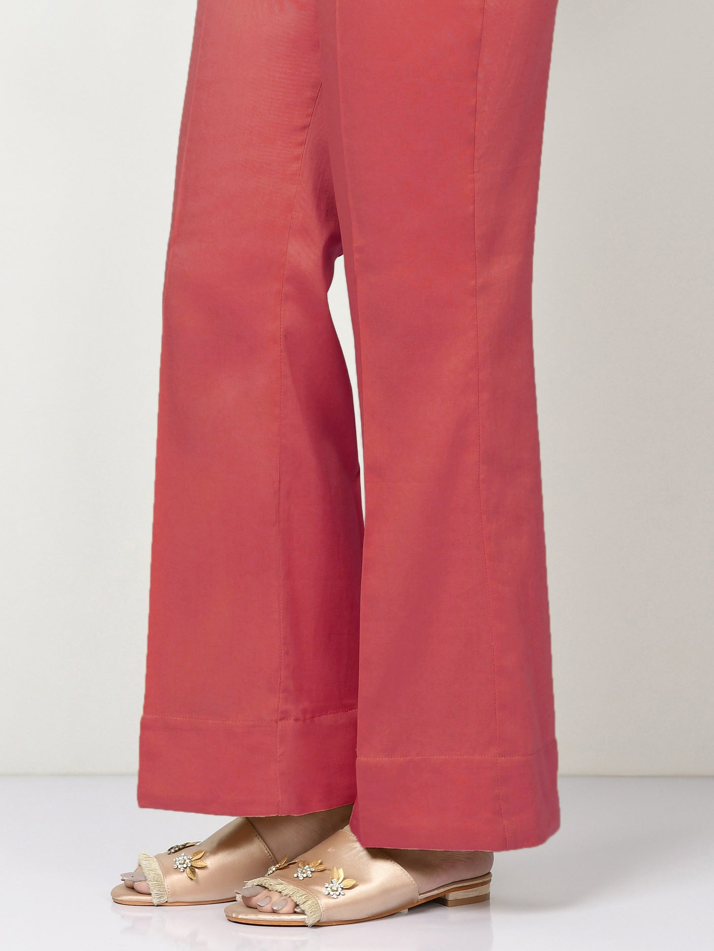 Unstitched Cambric Trouser - Light Red