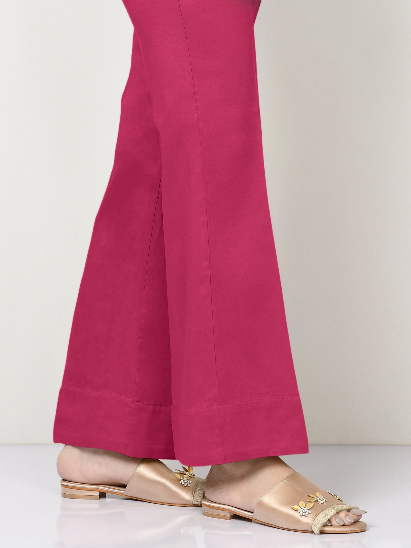 Unstitched Cambric Trouser - Ruby Pink