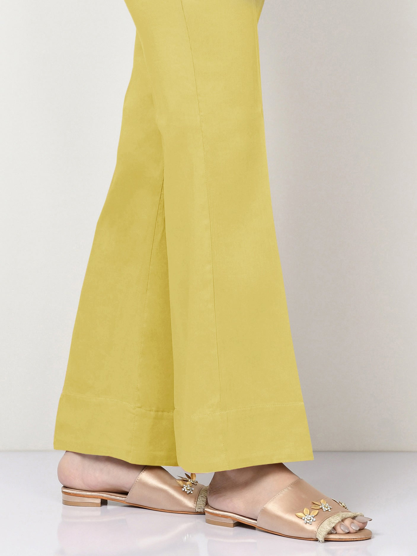 Unstitched Cambric Trouser -Yellow