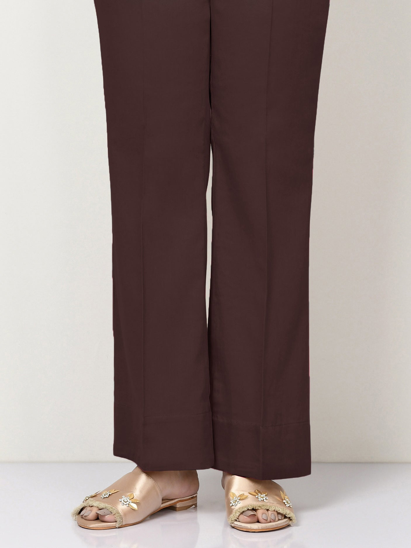 Unstitched Cambric Trouser - Deep Maroon