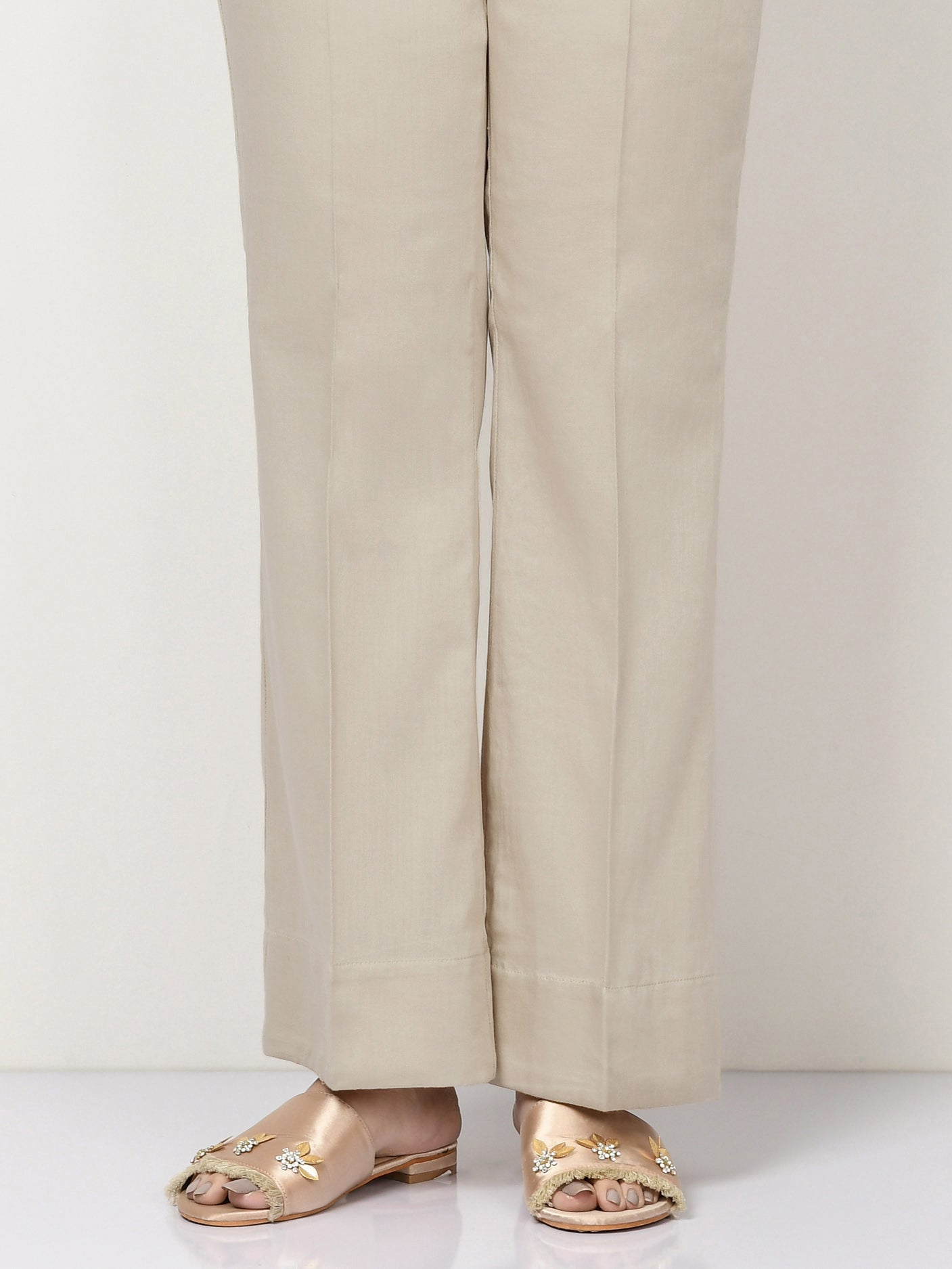 Unstitched Cambric Trouser - Sand Grey