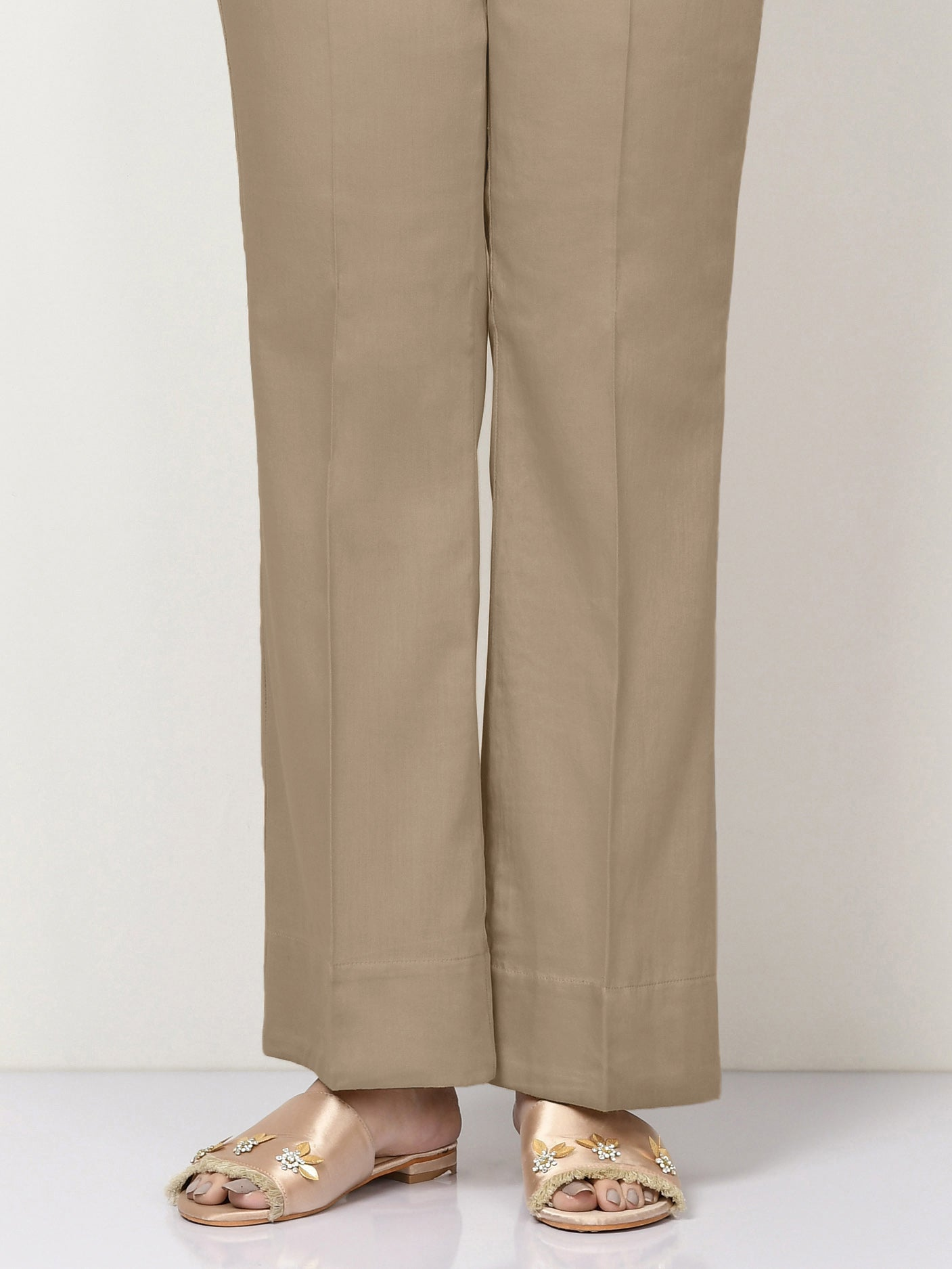 Unstitched Cambric Trouser - Camel