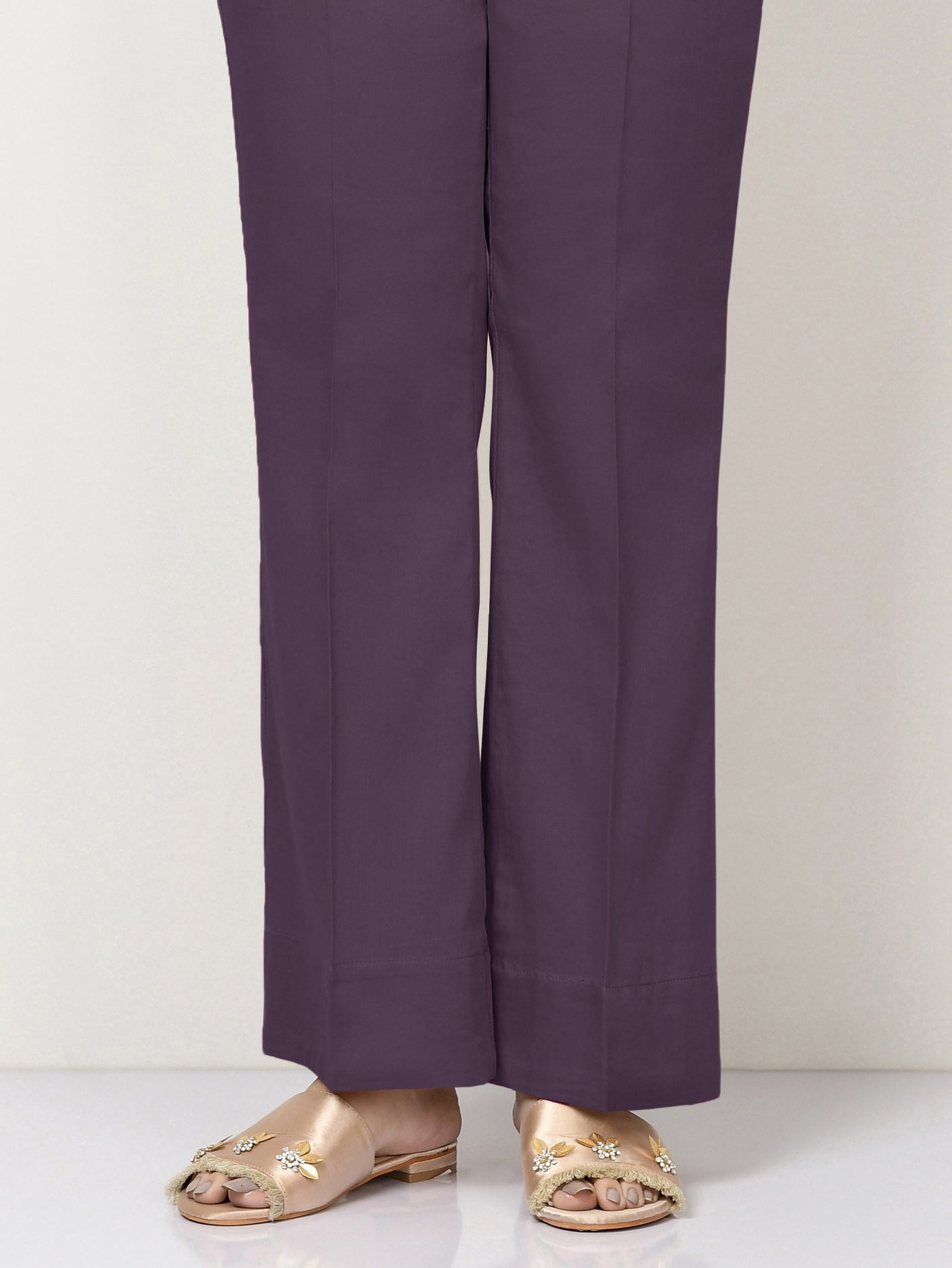 Unstitched Cambric Trouser - Purple