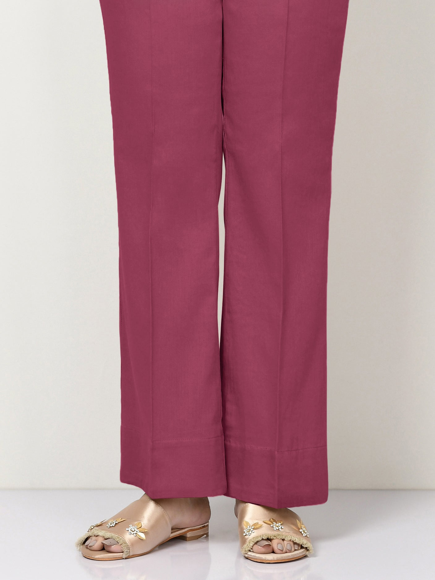 Unstitched Cambric Trouser - Dark Pink