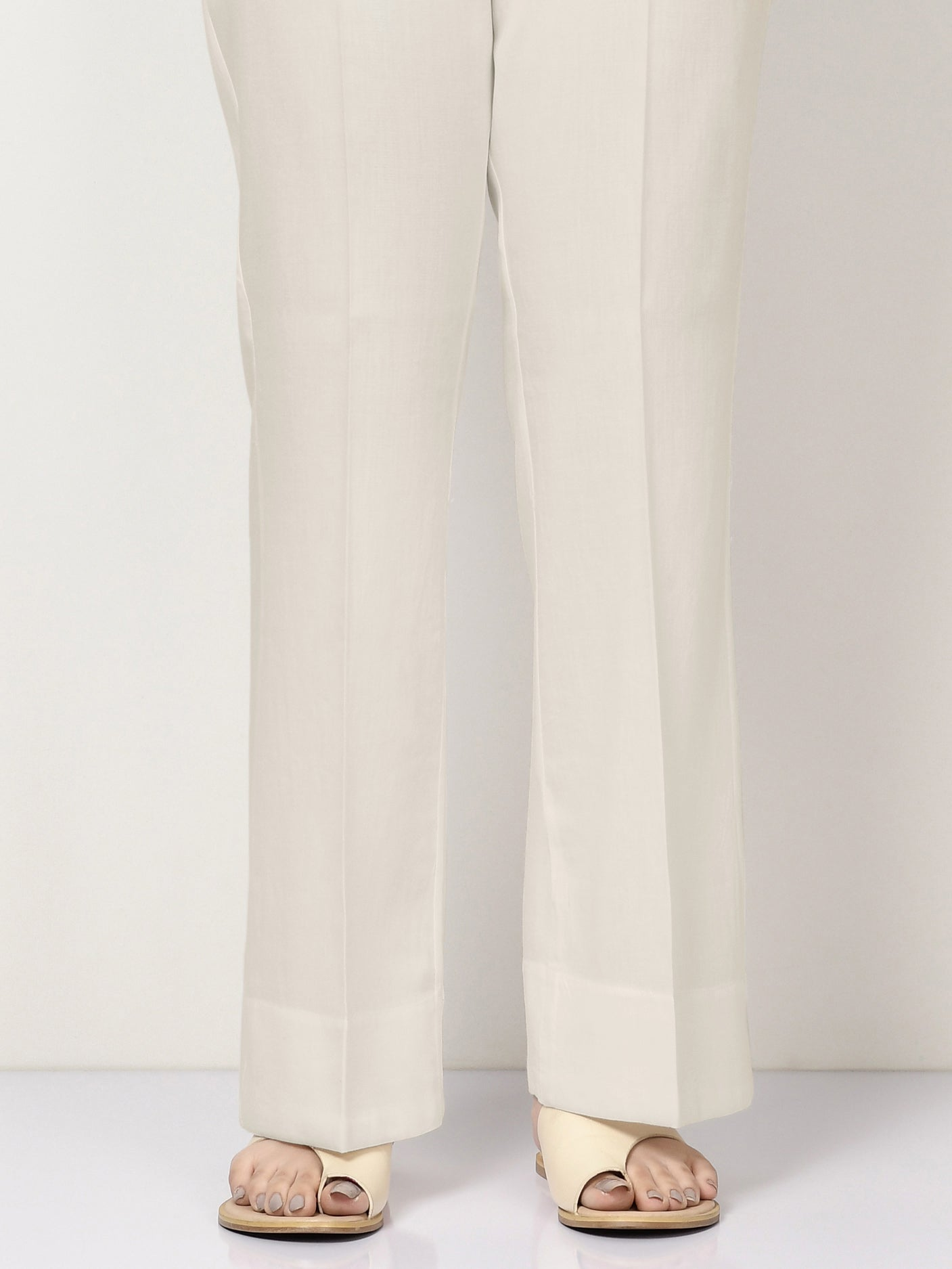 Unstitched Cambric Trouser - Cream