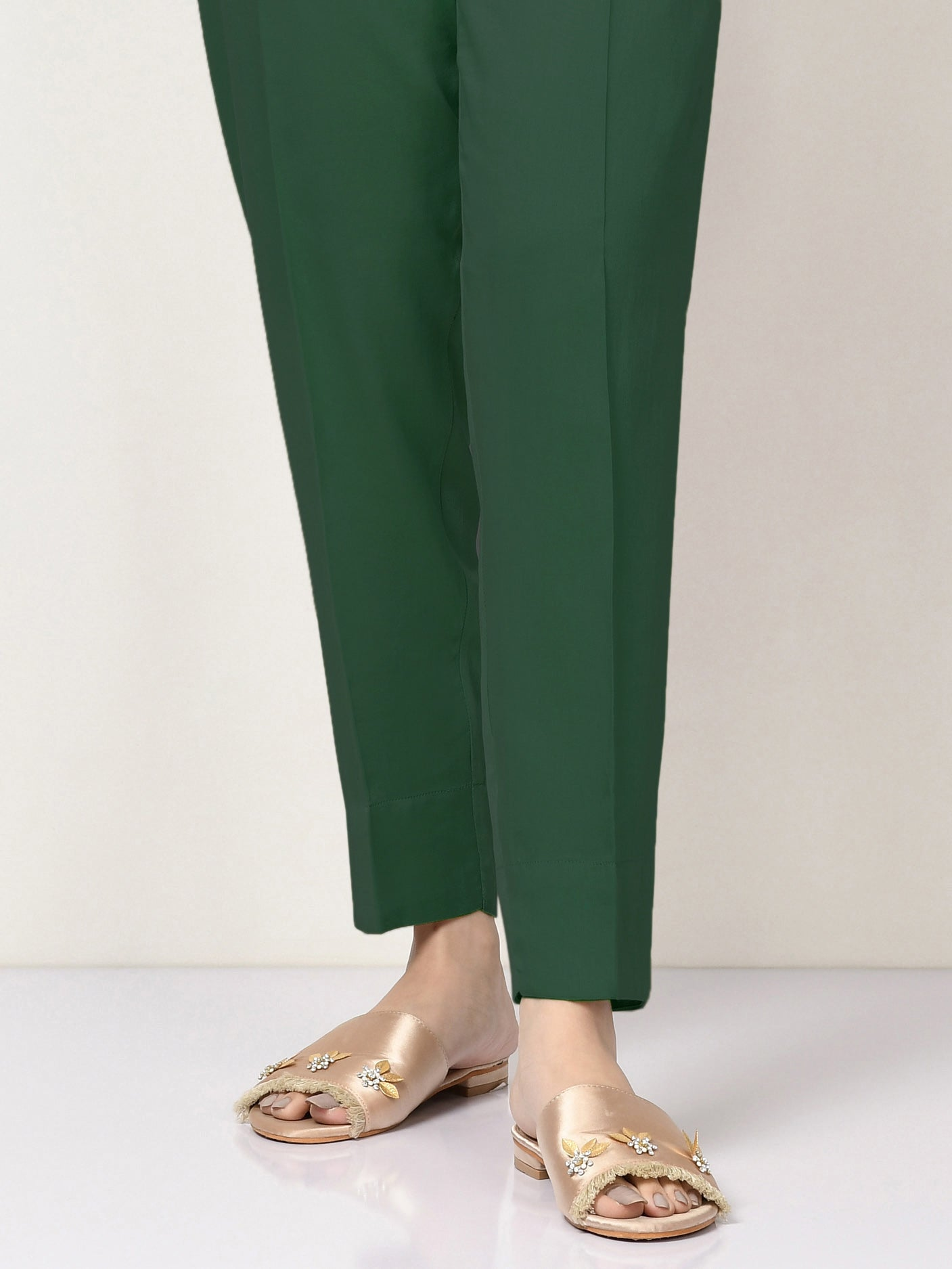 Satin Straight Trouser - Green
