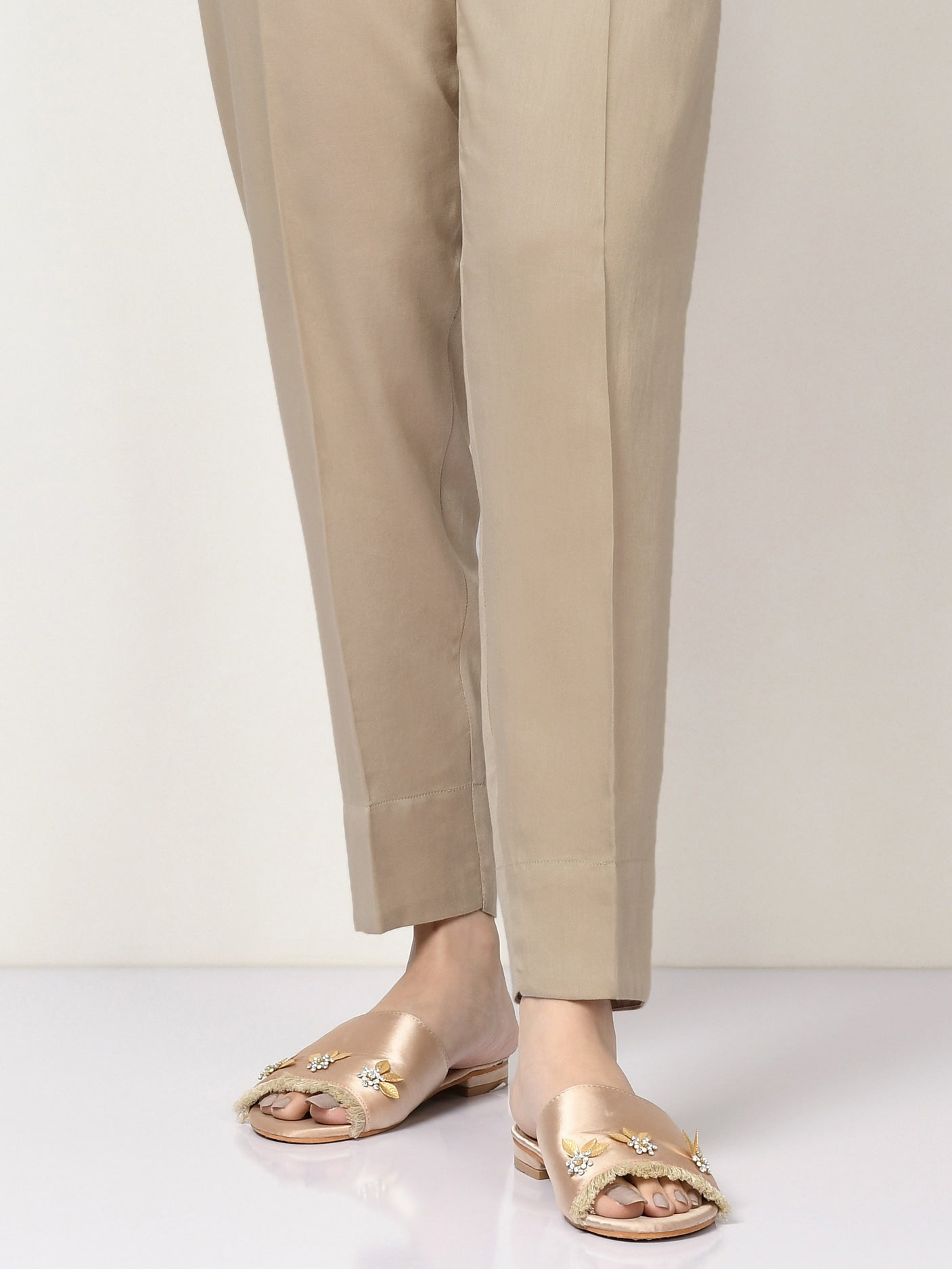 Cambric Straight Trouser - Camel