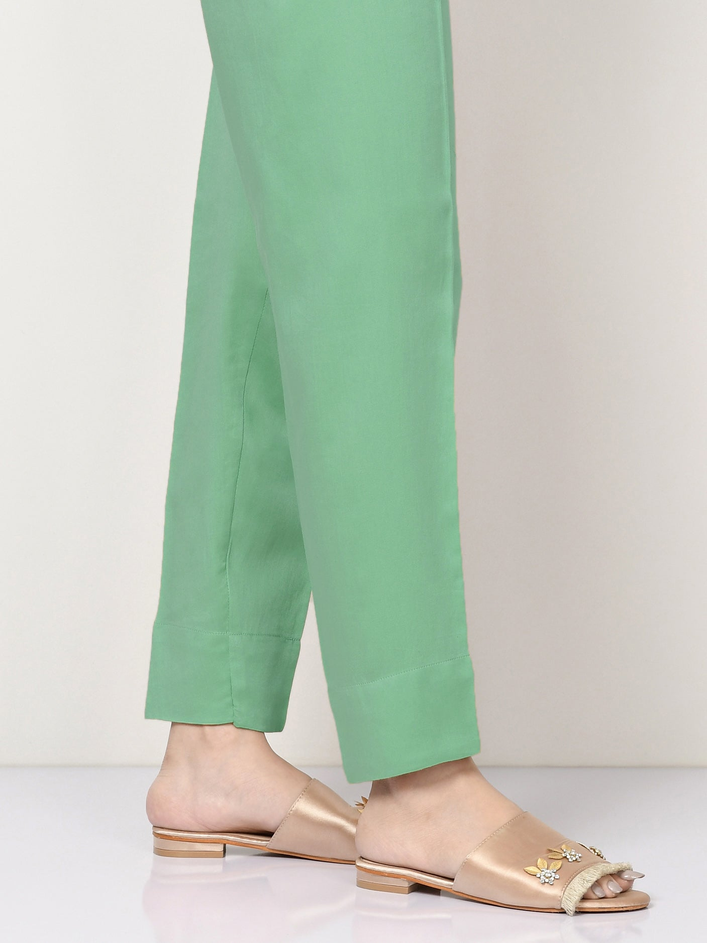 Cambric Straight Trouser - Sea Green