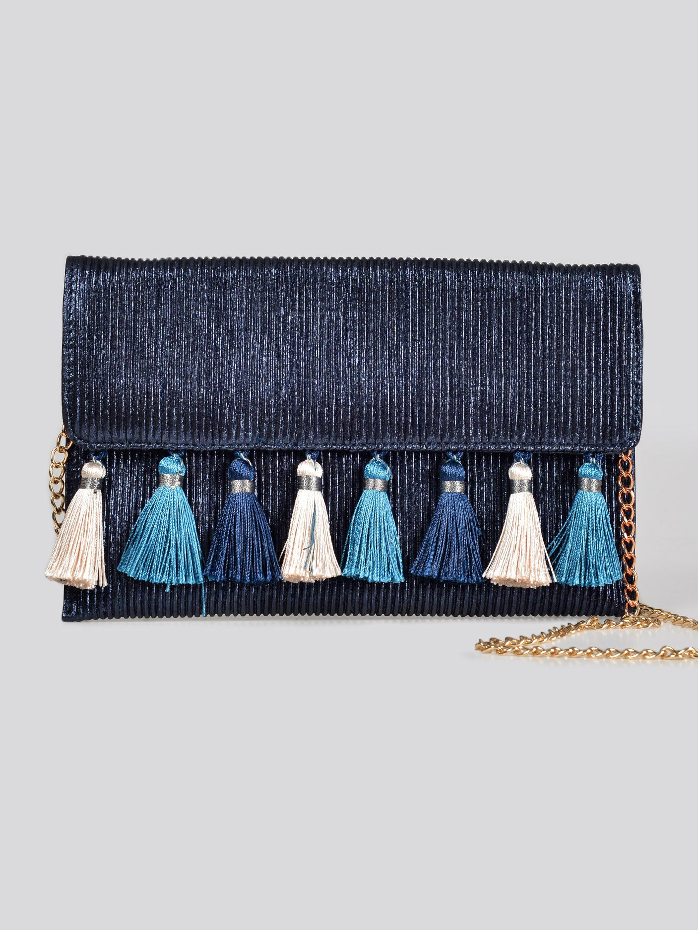 Tasseled Shimmer Clutch