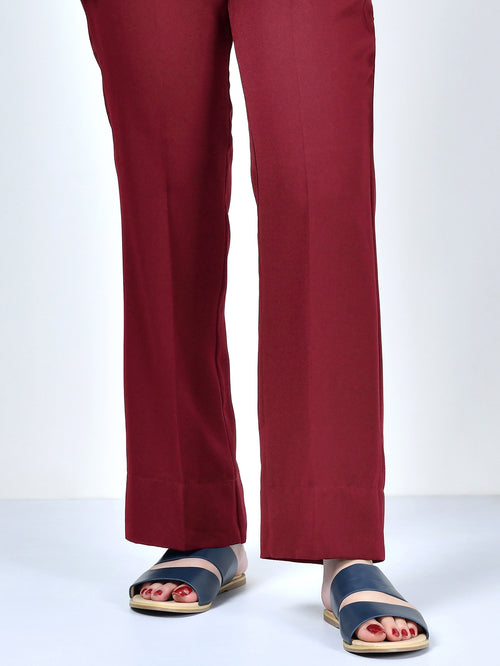 Straight Pants-Dark Red