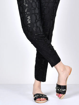 Embellished Silk Pants