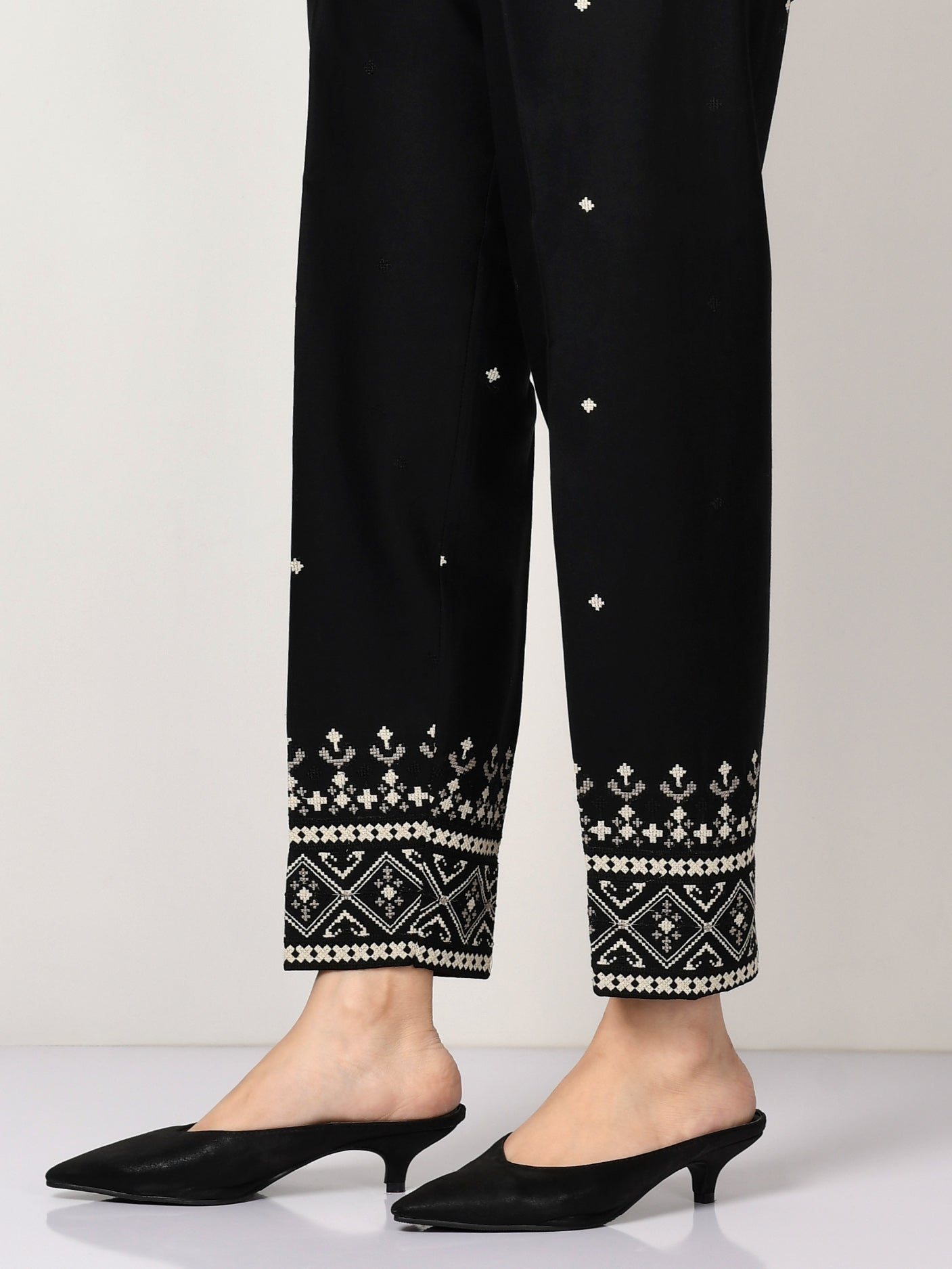 Embroidered Winter Cotton Trouser