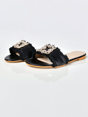 Diamante Fringe Sandals-Black