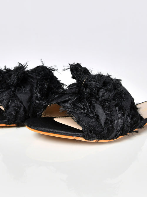 Frayed Sandals-Black