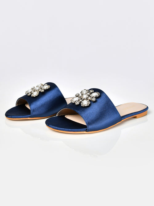 Pearl Satin Sandals-Blue