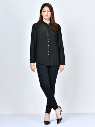 Button Down Chiffon Top