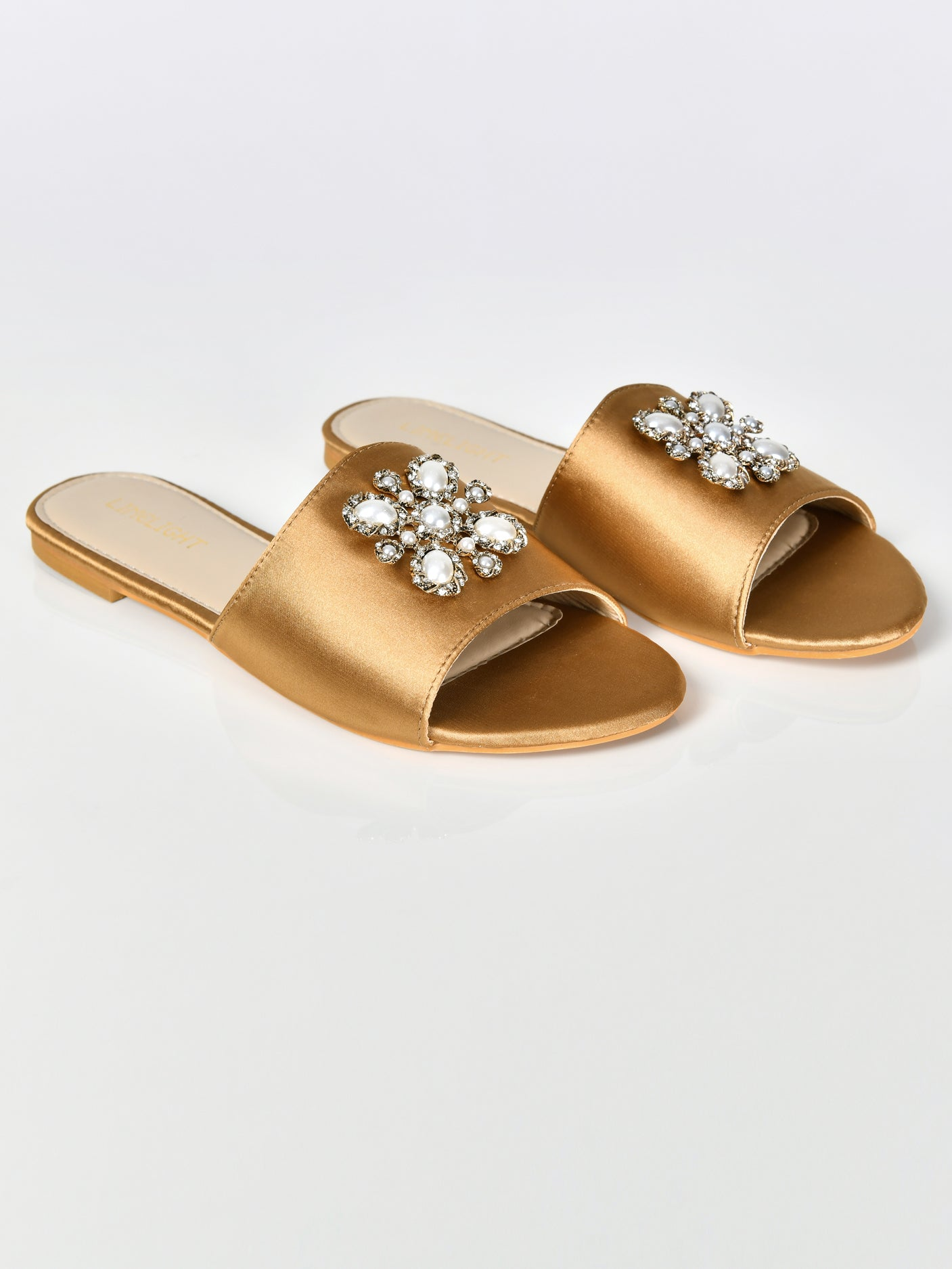 Pearl Satin Sandals-Gold
