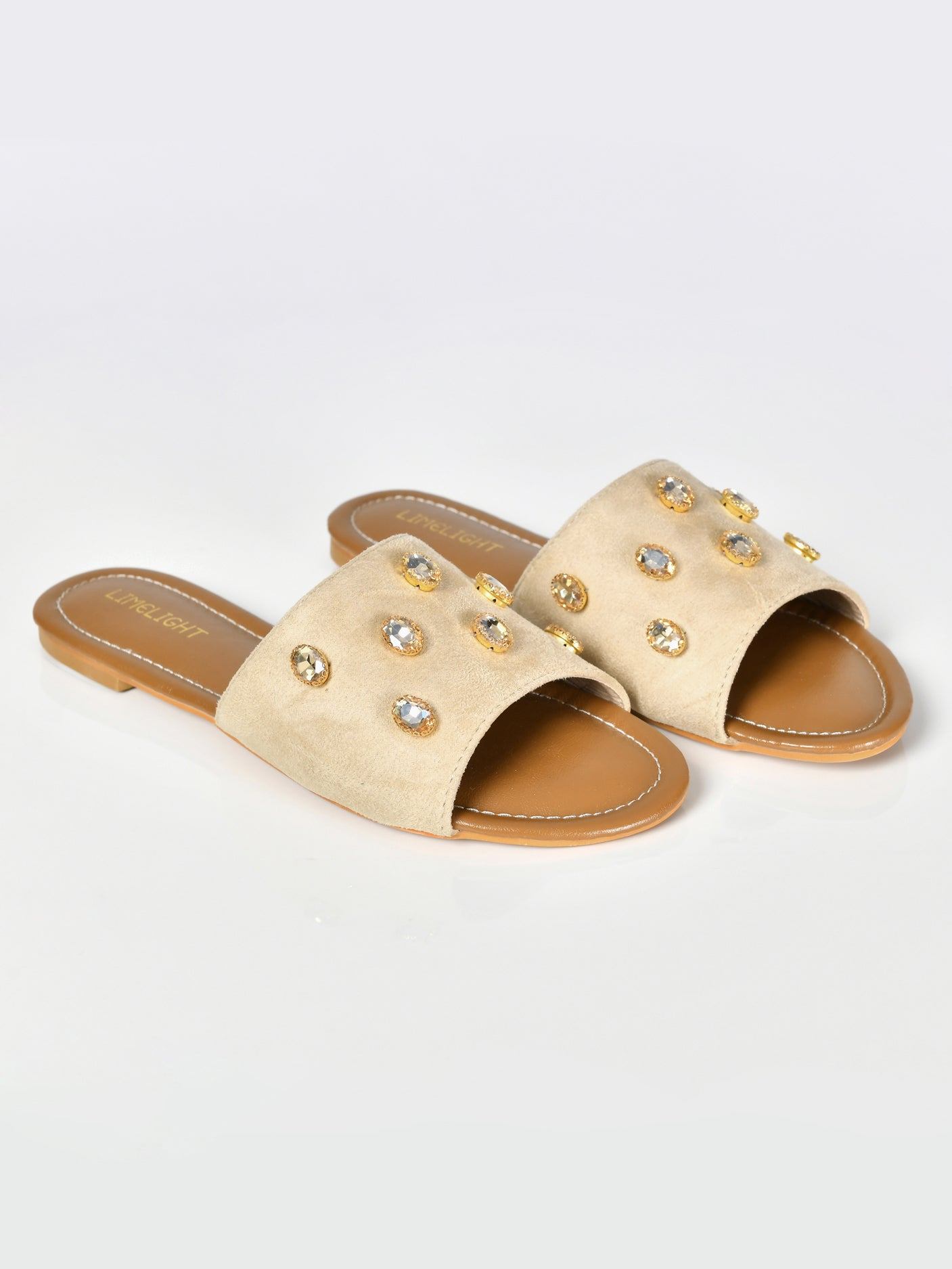 Stone Studded Sandals-Beige