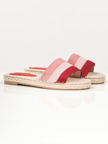 Striped Suede Slides - Red
