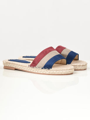 Striped Suede Slides - Blue