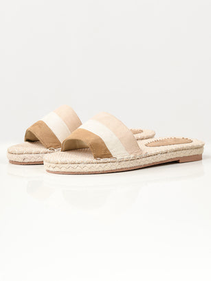Striped Suede Slides - Beige