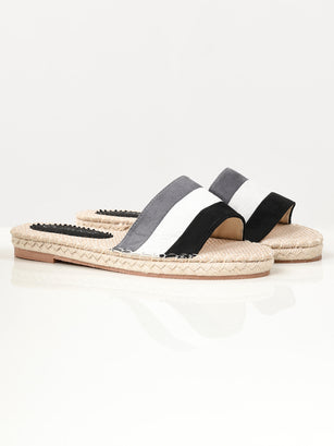 Striped Suede Slides - Black