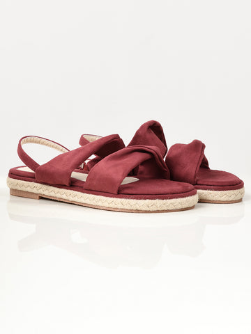 Twisted Suede Sandals - Maroon