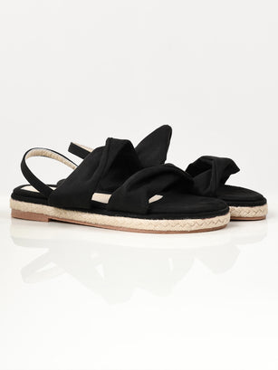 Twisted Suede Sandals - Black