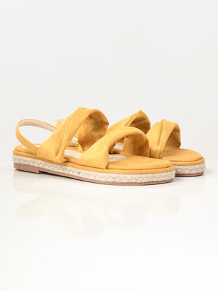 Twisted Suede Sandals - Yellow
