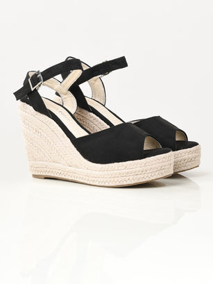 Suede Weave Wedges - Black