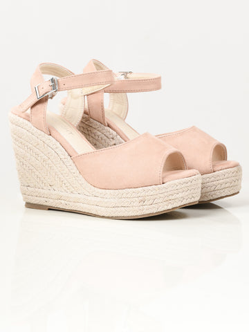 Suede Weave Wedges - Tea Pink