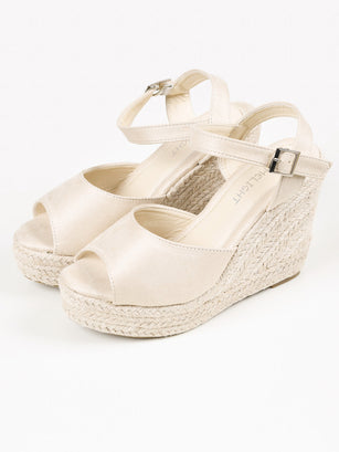 Suede Weave Wedges - Cream