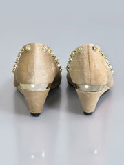 Studded Peep Toe Wedges - Beige