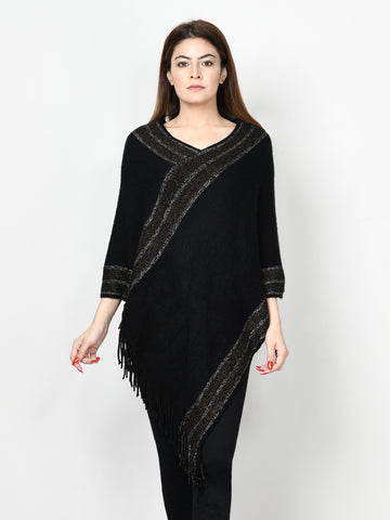 Shimmer Striped Poncho